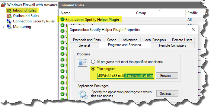 Windows Firewall Spotify Protocol Helper Inbound Rule